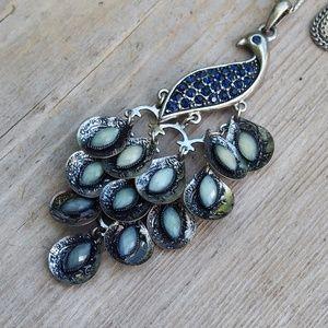 "Dangling Peacock Black Rhinestones Necklace 27"""